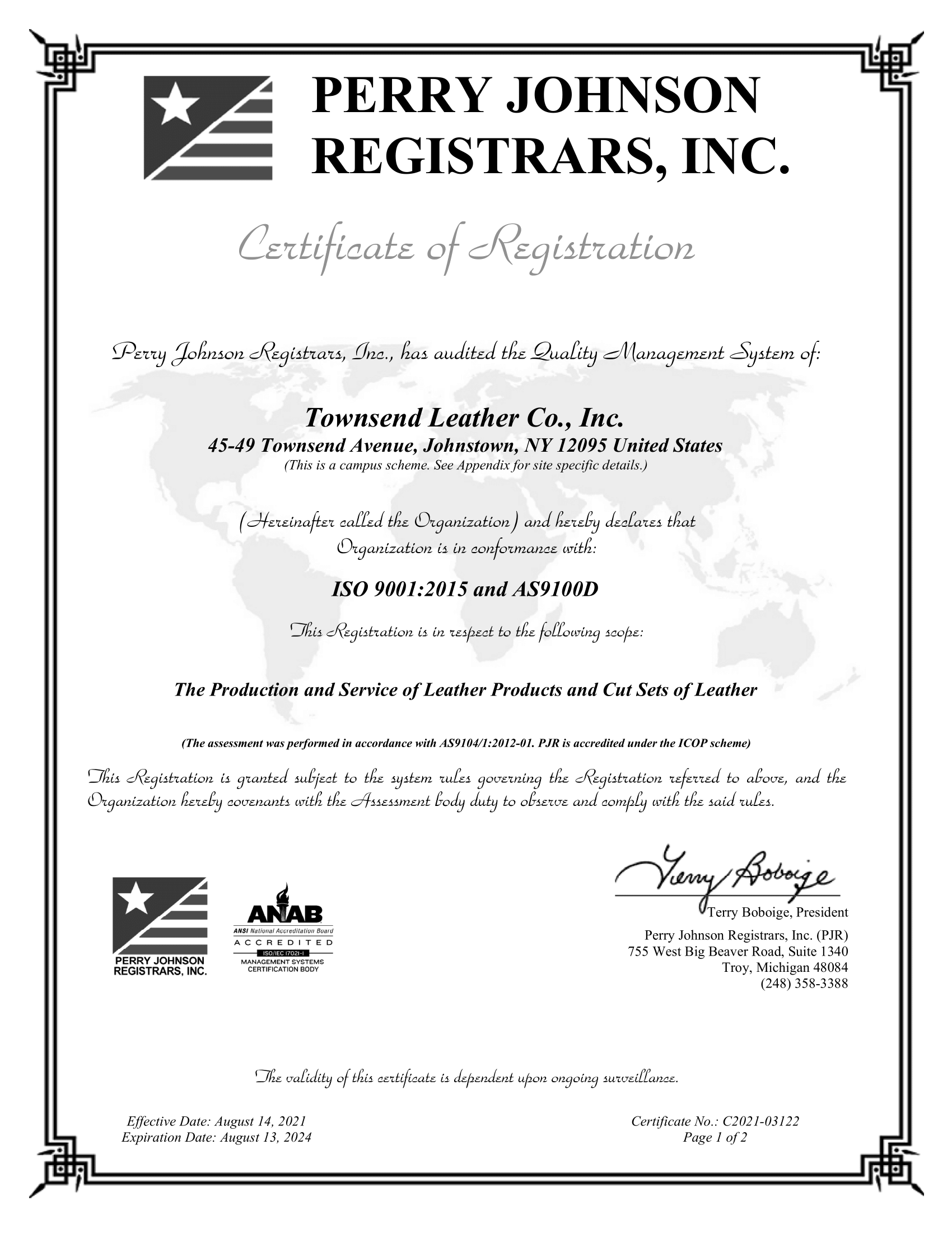 ISO AS9100 Certificate