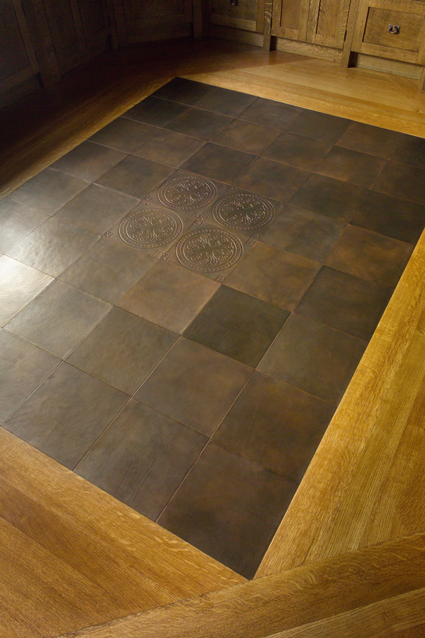 Leather floor tile