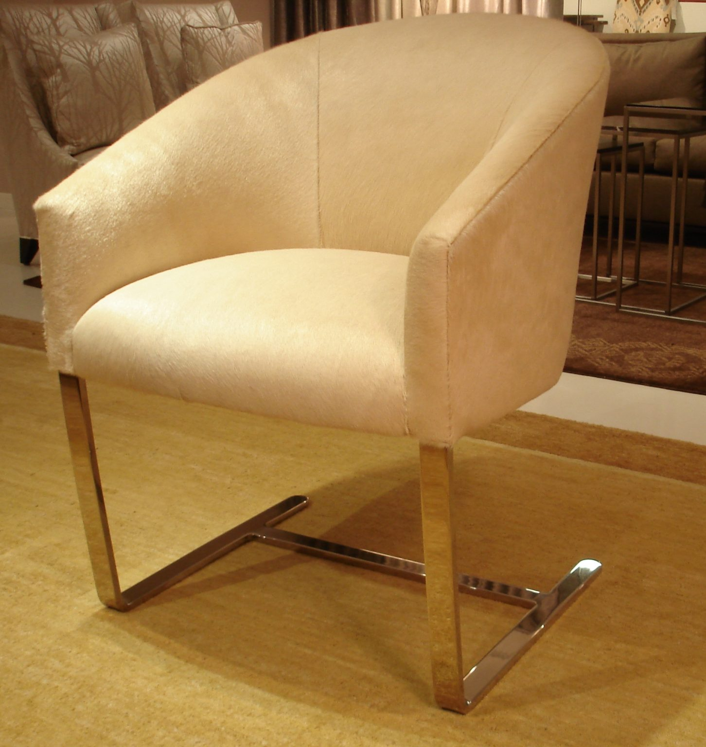 Toro Hair On Cowhide Bleached Sand HOC 4426 On A Donghia Cantilever Chair