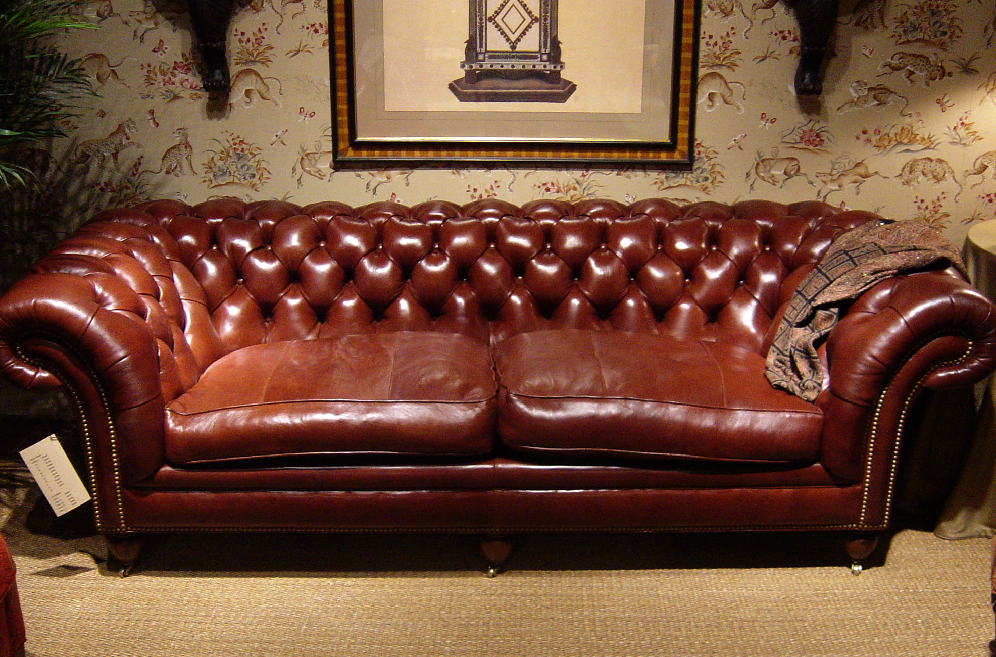 Tufted Back Sofa Antique Glaze Lambskin Auburn Furn Manufacturer