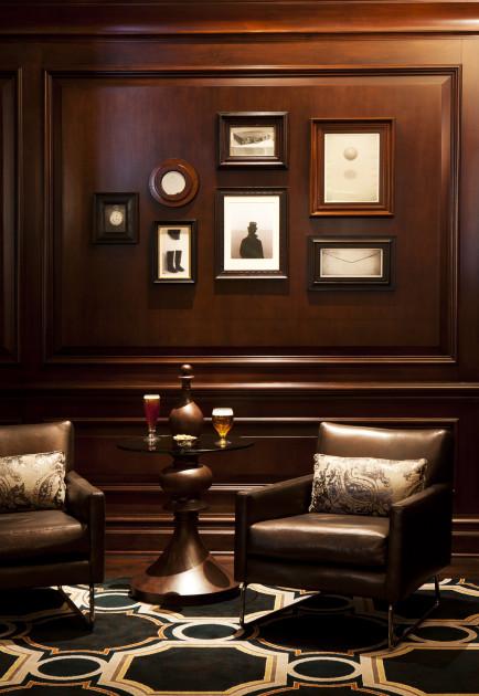 Langham Hotel Nook1_Custom Brushed Metallic Beaver Meadow Brown Leather_Designer Johnson Studio Tennessee