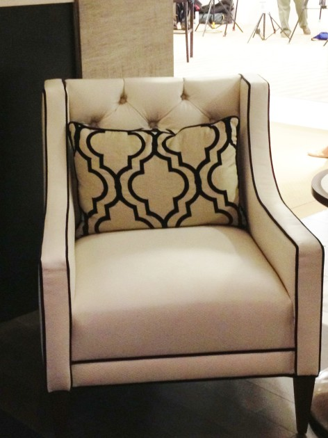 Classic Emb Tipped White Wisp Ptrn Anaconda Chair with Brushed Metallic Lamb Wrought Iron welt