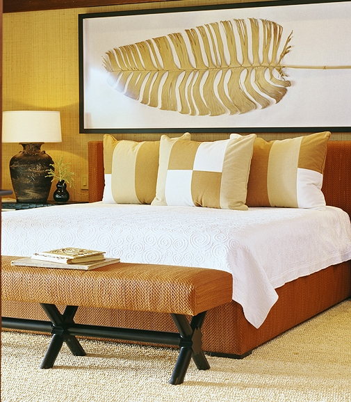 Townsend Leather Residential_ Headboard and Footboard_Pebble Woven Navajo Sunset_Designer Doug Rasar Interior Design, Washington