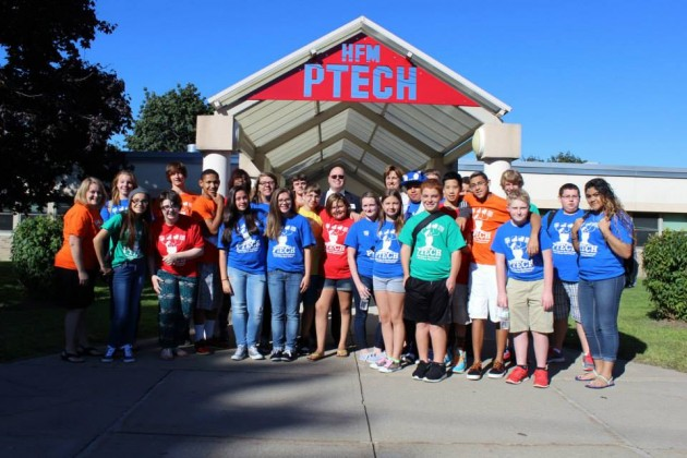 PTECH students at the official ribbon cutting