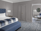 Townsend Leather's Manchester Cowhide Bellbottom Blues shown on a custom headboard for Lytle Park Hotel in Cincinnati, OH, designed by Forrest Perkins San Francisco.