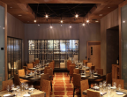 Townsend Leather's Mesa Cowhide Navajo Sunset in Del Frisco's NY Restaurant.