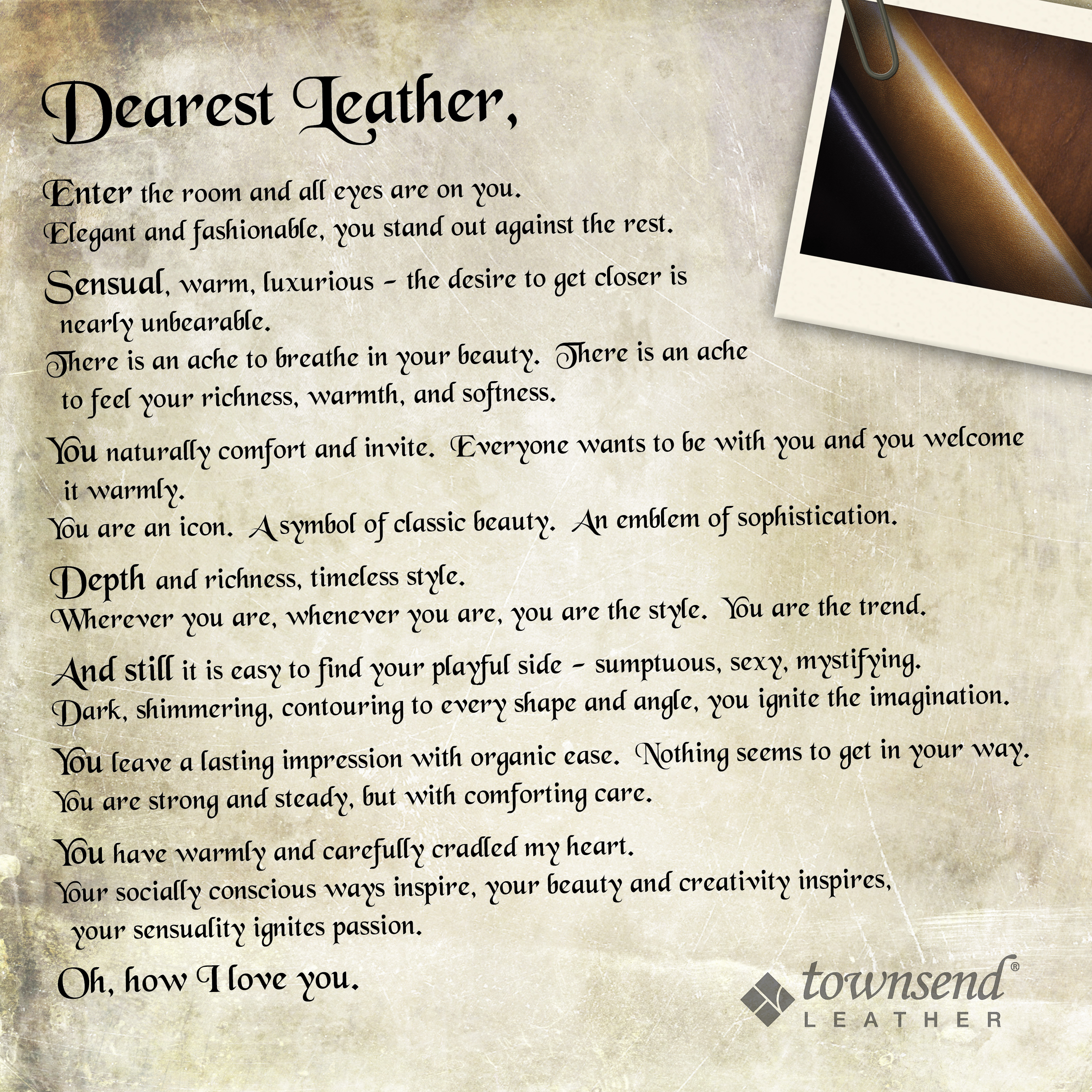 how to end a love letter for the of leather reason 10 it is so easy to 22293 | Dearest Leather TownsendLeather